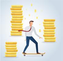 Empresario en patineta y monedas de oro fondo vector illustration