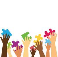 muitas mãos segurando o quebra-cabeça colorido peças ilustração vetorial de fundo