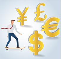 zakenman op skateboard met geld pictogram vectorillustratie