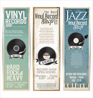Vinyl record shop retro grunge banner