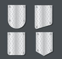 plate metal banner set vector illustration