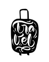 Travel inspiration quotes on suitcase silhouette. Pack your bags for a great adventure. Motivation for traveling poster typography.
