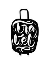 Viaggia citazioni di ispirazione su silhouette valigia. Fai le valigie per una grande avventura. Motivazione per la tipografia di un poster viaggiante.