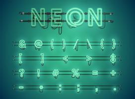Realistisch leuchtend grün Neon Charcter Set