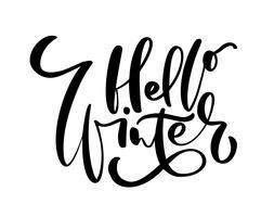 Bonjour hiver - texte d'inscription lettrage dessiné à la main à la conception de vacances d'hiver, carte de voeux de célébration, illustration vectorielle de calligraphie