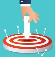 mano que sostiene el icono de flecha para apuntar a tiro con arco vector, ilustración del concepto de negocio