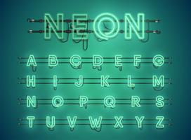 Realistic glowing green neon charcter set vector