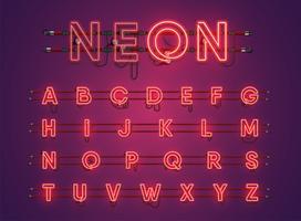 Realistisch leuchtende lila Neon Charcter Set