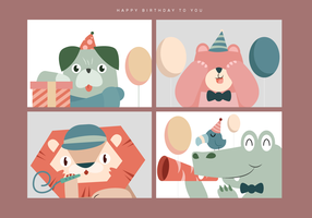 Cute Animal Birthday Portrait Vector Illustration