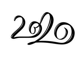Testo disegnato a mano di numero del nero di calligrafia dell'iscrizione di vettore 2020. Cartolina d'auguri del buon anno. Design vintage illustrazione di Natale