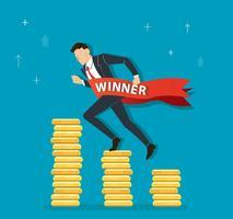 zakenman die op muntstukkengrafiek aan succes, bedrijfsconceptenillustratie