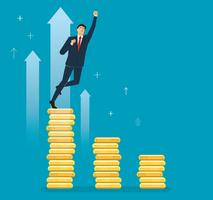 a businessman celebrating on coin graph , business concept vector illustration