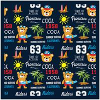vector seamless pattern with cartoon animals, bear the surfer, beach sport