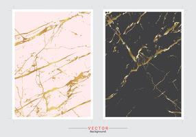 Gold marble imitation cover background vector set.
