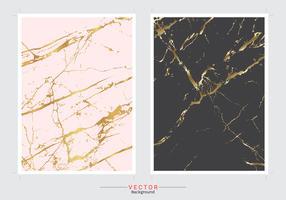 Sistema de imitación de mármol del vector del fondo de la cubierta del oro.