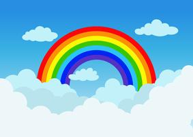 Vector illustration rainbow and cloud on blue sky background