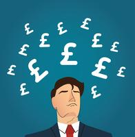 Businessman with Pound icon vector illustration