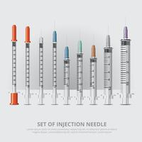 Ensemble d'aiguille d'injection illustration vectorielle réaliste