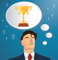 businessman thinking of trophy vector, business concept illustration