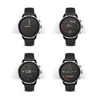 Reloj inteligente con pantalla digital set vector illustration