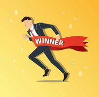 zakenman loopt naar succes met een winnaar banner, bedrijfsconcept vectorillustratie