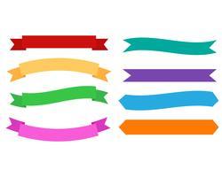Ensemble de rubans colorés de bannières design sur fond blanc - illustration vectorielle