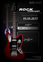 Illustration vectorielle de guitare concert affiche fond modèle