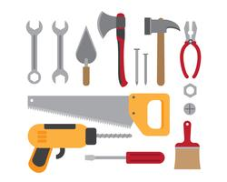 Illustration vectorielle de la collection d'outils de travail de construction isolée sur fond blanc