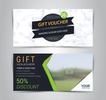 Presentkort och kuponger kort, rabatt kupong eller banner webb mall med marmor konsistens imitation.