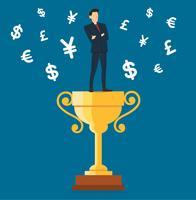 uomo d'affari che sta sulla tazza del trofeo con il vettore dell'icona di simbolo dei soldi, illustrazione di concetto di affari