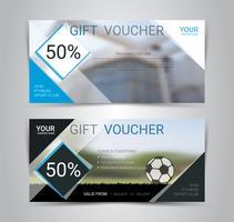 Modèle de carte ou une bannière de chèque cadeau avec un arrière-plan flou.