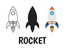 Raketenlogoikone eingestellt auf weißen Hintergrund