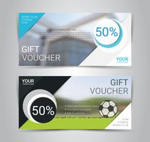 Gift voucher card or banner web template with blurred background.
