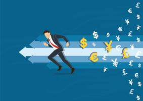 empresario corriendo a la ilustración de vector de éxito con fondo de icono de símbolo de dinero, ilustración de concepto de negocio
