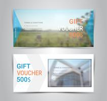 Gift certificates and vouchers, discount coupon or banner web template with blurred background.