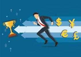 businessman running to the trophy vector illustration