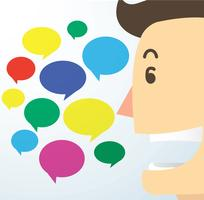 man cartoon talk and colorful chat box background vector