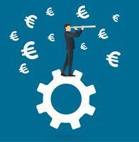 uomo d'affari guarda attraverso un telescopio in piedi sull'icona dell'ingranaggio e sfondo icona euro