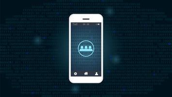 Pantalla de teléfono inteligente con fondo de red global y código binario