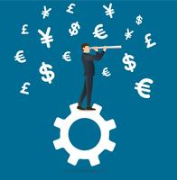 businessman looks through a telescope standing on gear icon and money symbol icon background
