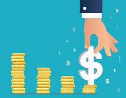 main tenant l'icône du dollar sur le graphique de la pièce, illustration de concept d'affaires