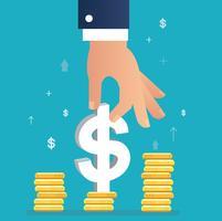 hand met dollar pictogram op munt grafiek, bedrijfsconcept illustratie