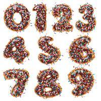 Donut de chocolate decorado em forma de números.