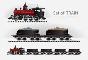 Cargo train on a rail road Vector illustration
