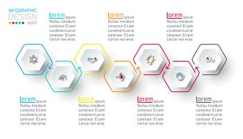 Hexagon Inforgraphics auf Vektorgrafik.