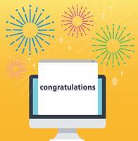 Parabéns aparecer no computador de tela e fundo amarelo, ilustração de conceito de negócio bem sucedido