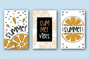 Colección de tarjetas de verano con naranjas.