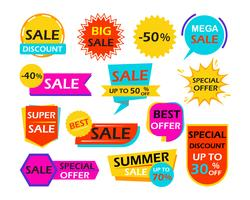 Set of sale banner design element tags - Vector illustration