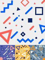Set di carte stile memphis moda geometrica alla moda design in coloratissimi toni di sfondo. Collezione di modelli di moda anni 80-90. È possibile utilizzare per la progettazione di copertine, pubblicità, poster, libri, biglietti di auguri.