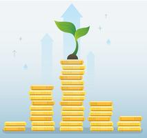 plant growth on coins graph, startup business concept vector illustration